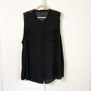 Tortured faux leather shoulder button up tank